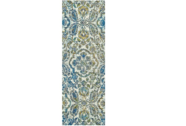 34X118 Rug-Cobalt And Yellow Large Medallion - 360