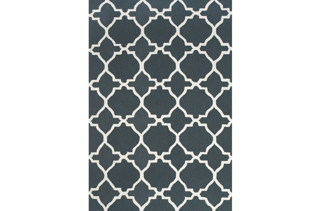 24X36 Rug-Charcoal And White Trellis