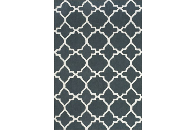 24X36 Rug-Charcoal And White Trellis - 360