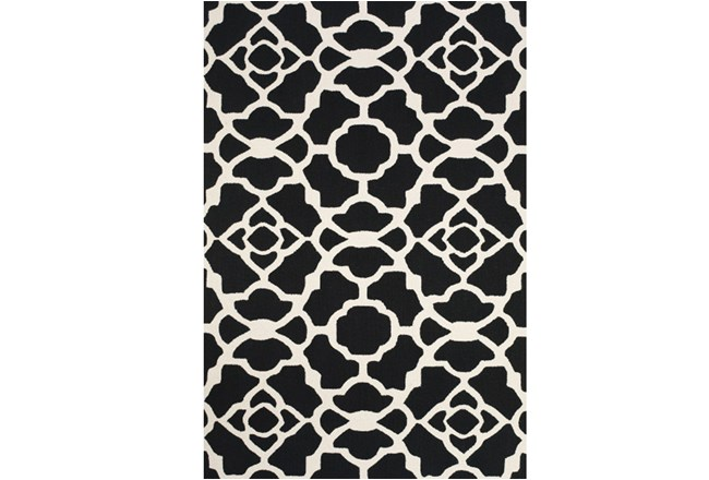 42X66 Rug-Black And White Garden Gate - 360