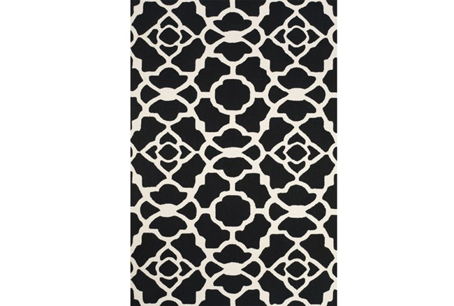 60X96 Rug-Black And White Garden Gate - 360