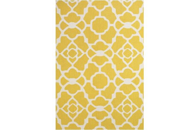 60X96 Rug-Yellow And White Garden Gate - 360