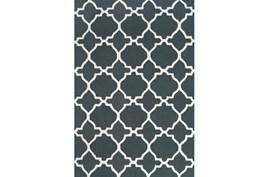 60X96 Rug-Charcoal And White Trellis