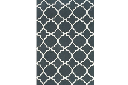 60X96 Rug-Charcoal And White Trellis - Main