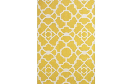 90X114 Rug-Yellow And White Garden Gate - Main