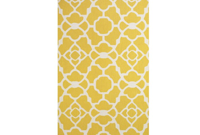 90X114 Rug-Yellow And White Garden Gate - 360
