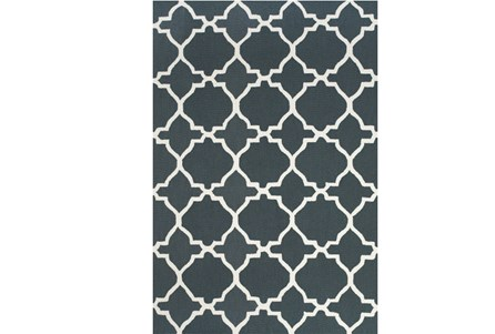 90X114 Rug-Charcoal And White Trellis