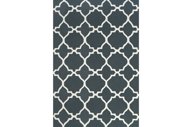 102X138 Rug-Charcoal And White Trellis - 360