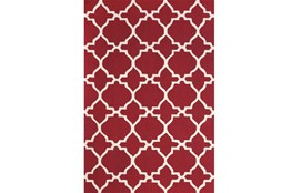 "3'5""x5'5"" Rug-Red And White Trellis"