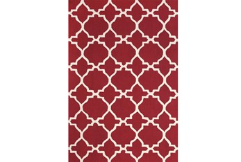 """3'5""""x5'5"""" Rug-Red And White Trellis"""