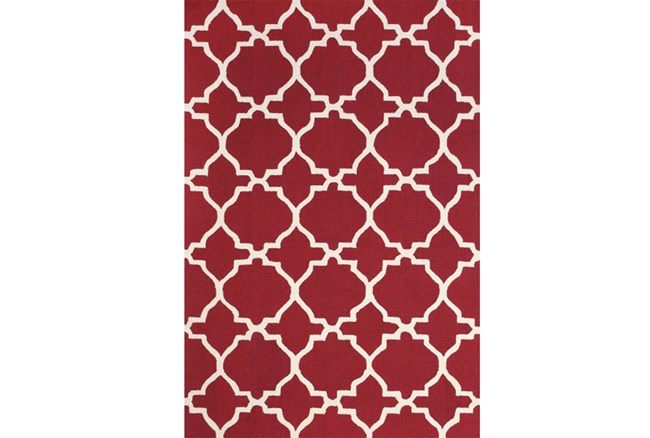 42X66 Rug-Red And White Trellis - 360