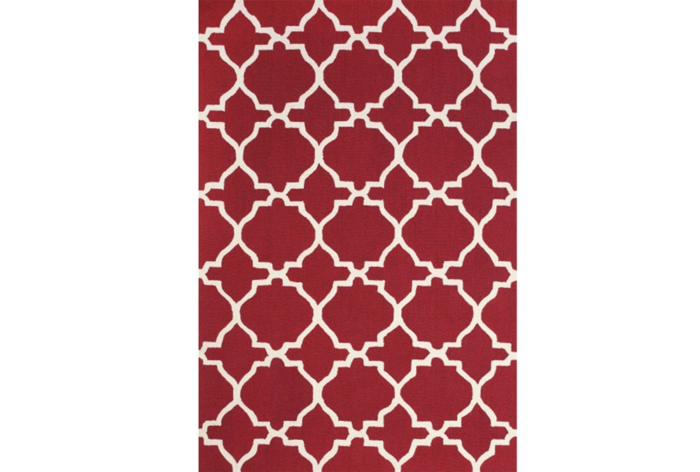 90X114 Rug-Red And White Trellis