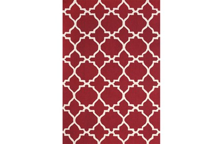 90X114 Rug-Red And White Trellis - Main