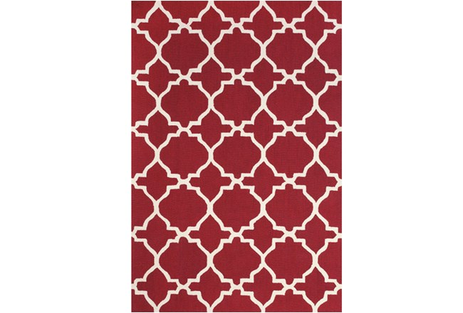90X114 Rug-Red And White Trellis - 360