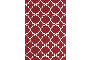 2'x3' Rug-Red And White Trellis