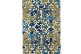 96X132 Rug-Cobalt And Yellow Damask