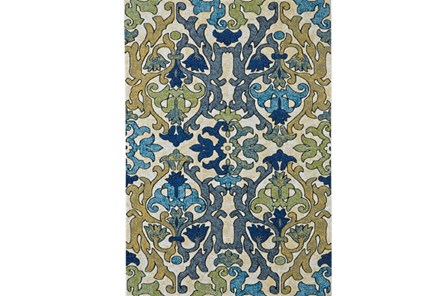 96X132 Rug-Cobalt And Yellow Damask - Main
