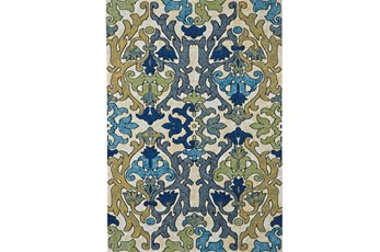 120X158 Rug-Cobalt And Yellow Damask