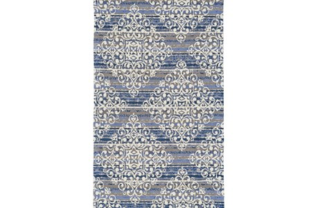 96X132 Rug-Blue And Taupe Medallion Stamp