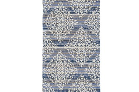 96X132 Rug-Blue And Taupe Medallion Stamp - Main