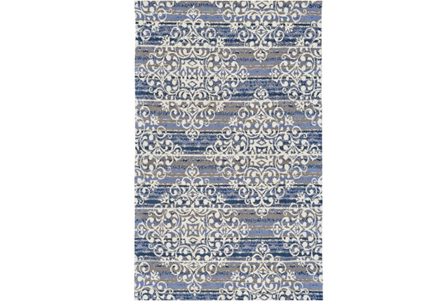 96X132 Rug-Blue And Taupe Medallion Stamp - 360
