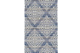 114X162 Rug-Blue And Taupe Medallion Stamp