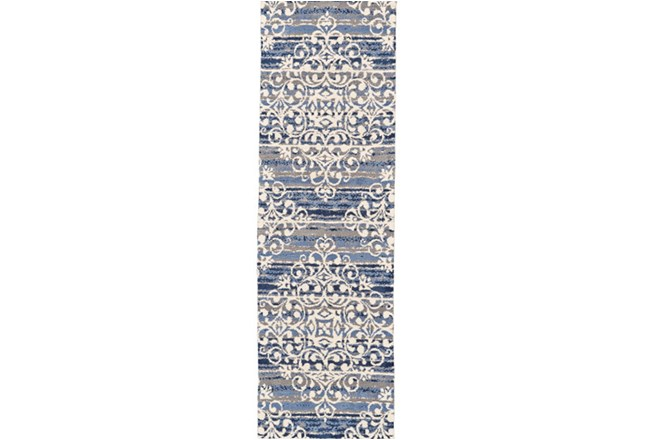 30X96 Rug-Blue And Taupe Medallion Stamp - 360