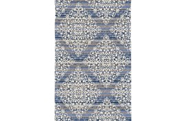 24X36 Rug-Blue And Taupe Medallion Stamp