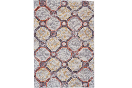 96X132 Rug-Orange And Yellow Honeycomb - Main