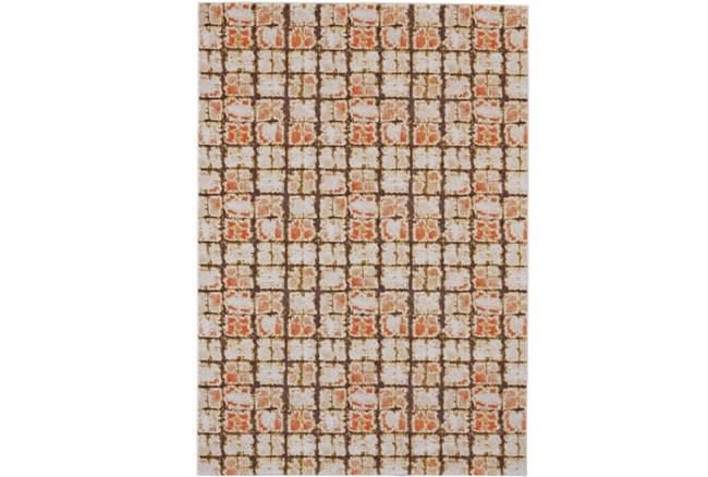 26X48 Rug-Orange And Brown Boho Cubes - 360