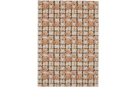 96X132 Rug-Orange And Brown Boho Cubes