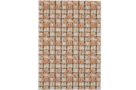 96X132 Rug-Orange And Brown Boho Cubes - Main