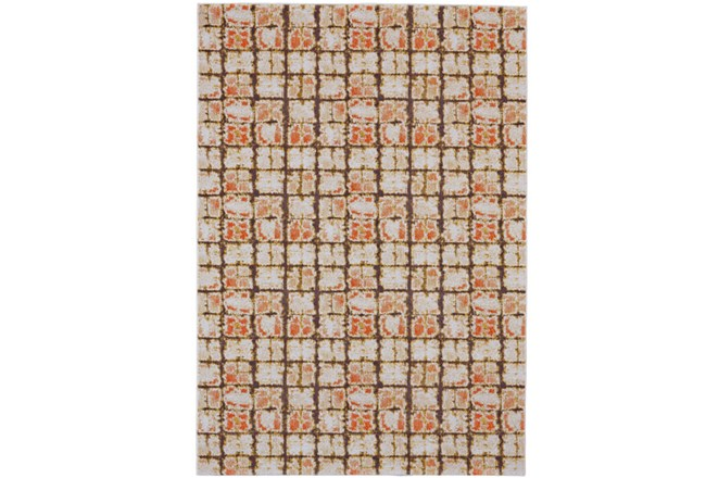 96X132 Rug-Orange And Brown Boho Cubes - 360