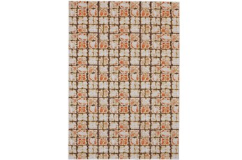 120X158 Rug-Orange And Brown Boho Cubes