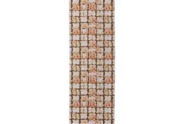 34X94 Rug-Orange And Brown Boho Cubes
