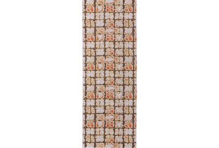 34X94 Rug-Orange And Brown Boho Cubes
