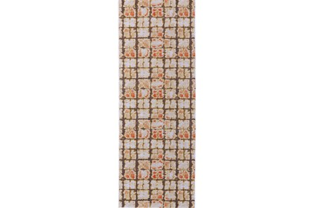 34X94 Rug-Orange And Brown Boho Cubes - Main