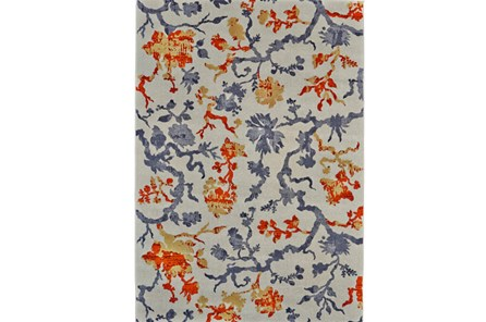 96X132 Rug-Orange And Grey Empire Floral