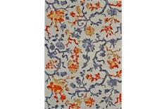 120X158 Rug-Orange And Grey Empire Floral