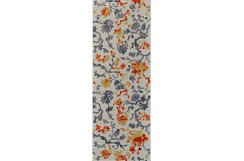 34X94 Rug-Orange And Grey Empire Floral