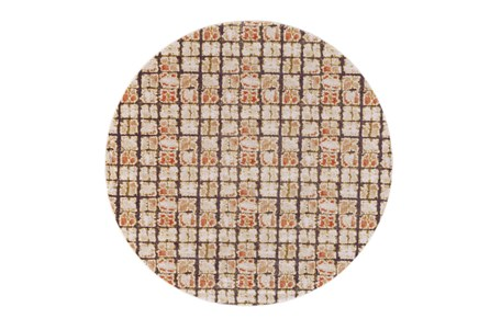 96 Inch Round Rug-Orange And Brown Boho Cubes