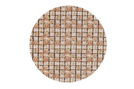 96 Inch Round Rug-Orange And Brown Boho Cubes - Main