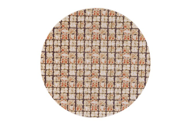 96 Inch Round Rug-Orange And Brown Boho Cubes - 360