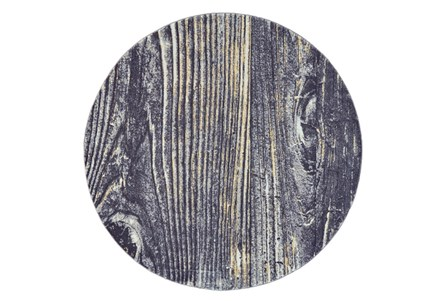 96 Inch Round Rug-Charcoal And Yellow Faux Bois