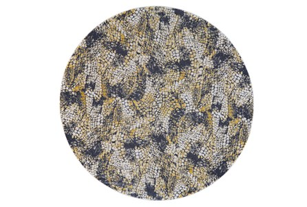 96 Inch Round Rug-Charcoal And Yellow Crackle
