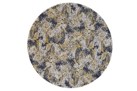 96 Inch Round Rug-Charcoal And Yellow Crackle - Main