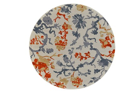 96 Inch Round Rug-Orange And Grey Empire Floral - Main