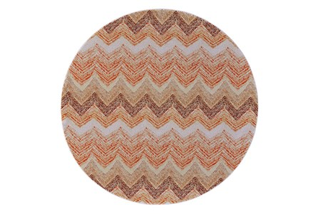 96 Inch Round Rug-Orange Ombre Chevron
