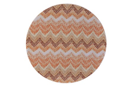 96 Inch Round Rug-Orange Ombre Chevron - Main