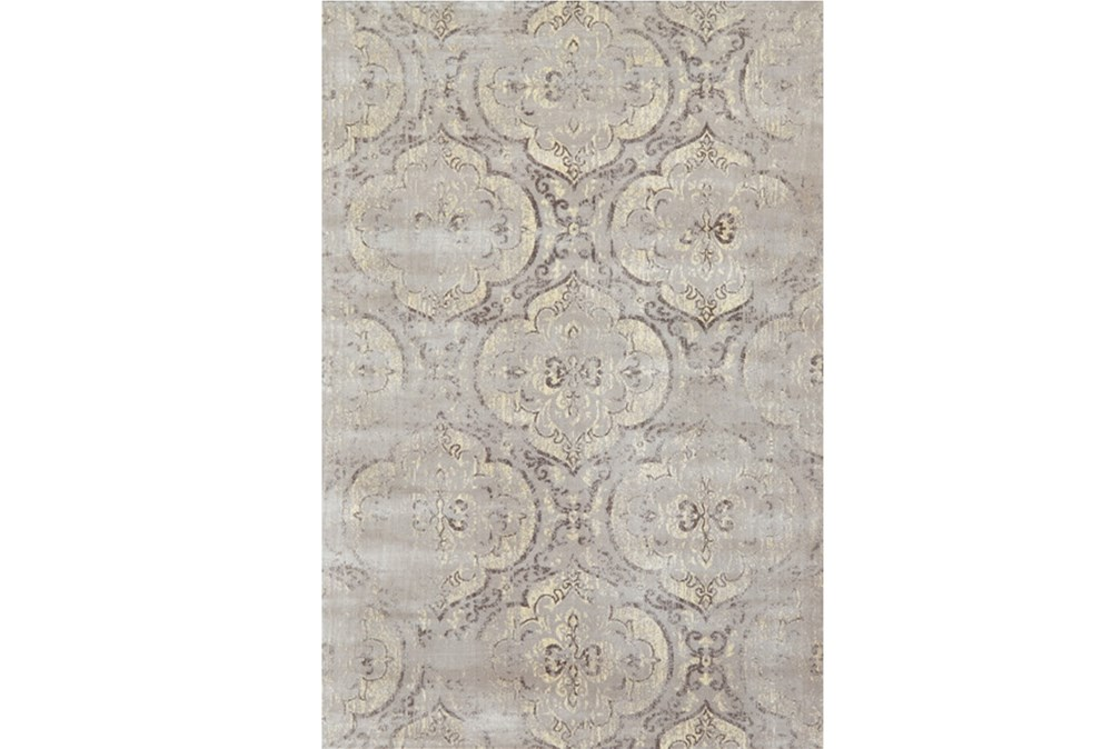 "3'2""x5'3"" Rug-Grey And Buttercream Faded Medallions"